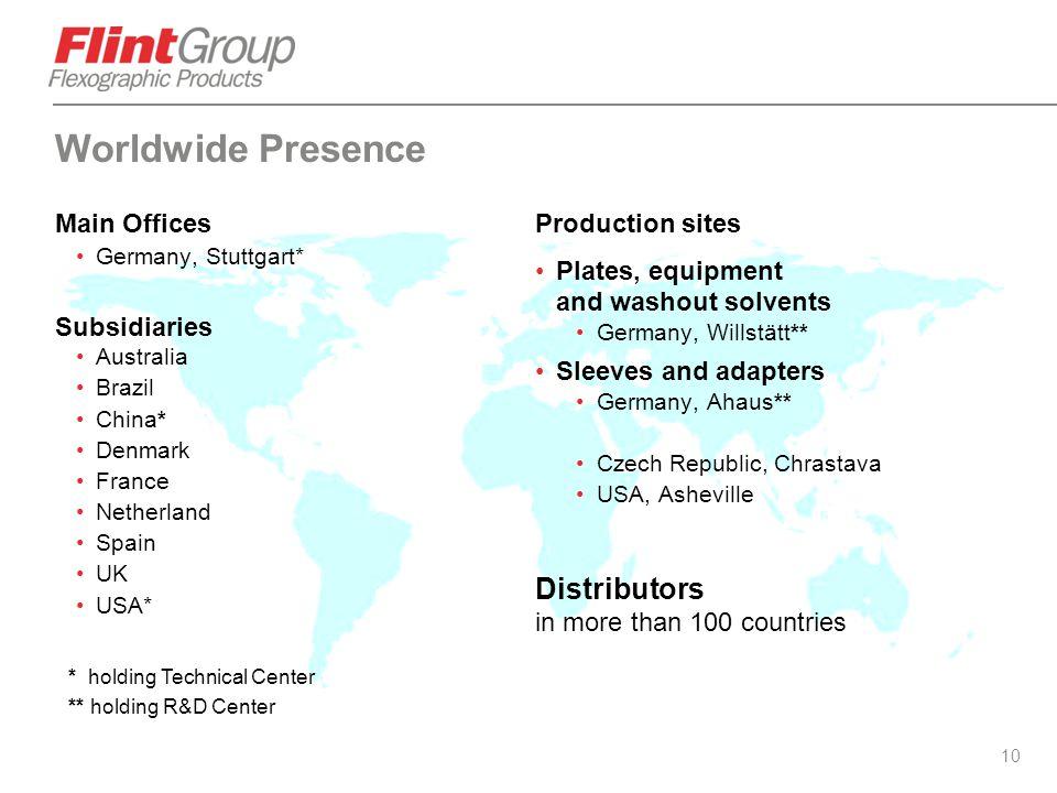 10 Worldwide Presence Main Offices Germany, Stuttgart* Subsidiaries Australia Brazil China* Denmark France Netherland Spain UK USA* Production sites P