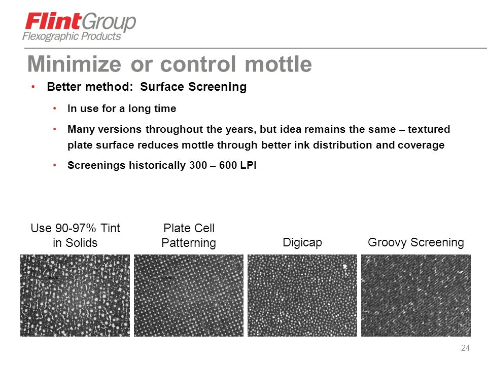 24 Better method: Surface Screening In use for a long time Many versions throughout the years, but idea remains the same – textured plate surface redu