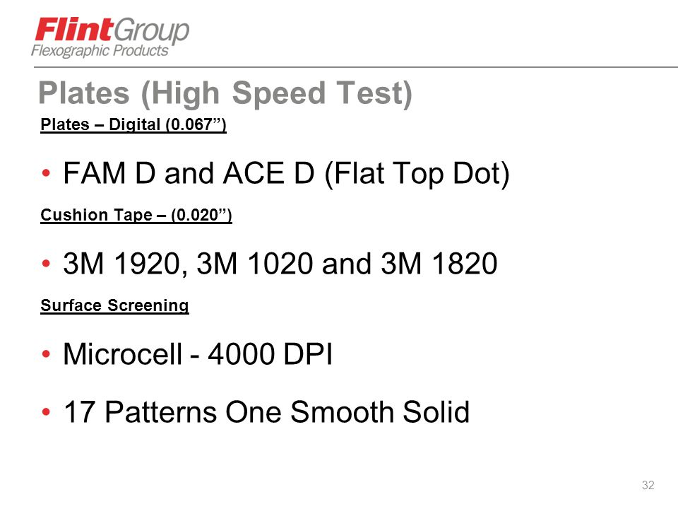 """32 Plates (High Speed Test) Plates – Digital (0.067"""") FAM D and ACE D (Flat Top Dot) Cushion Tape – (0.020"""") 3M 1920, 3M 1020 and 3M 1820 Surface Scre"""