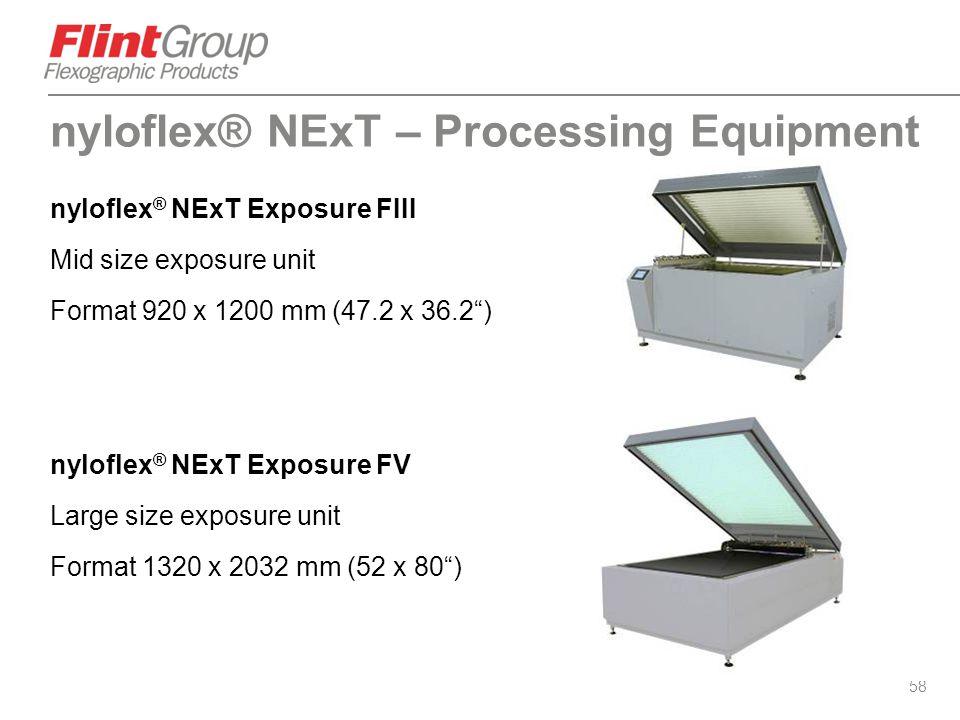 """58 nyloflex ® NExT Exposure FIII Mid size exposure unit Format 920 x 1200 mm (47.2 x 36.2"""") nyloflex ® NExT Exposure FV Large size exposure unit Forma"""
