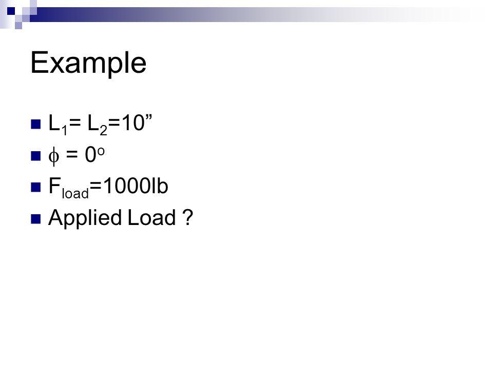 "Example L 1 = L 2 =10""  = 0 o F load =1000lb Applied Load ?"