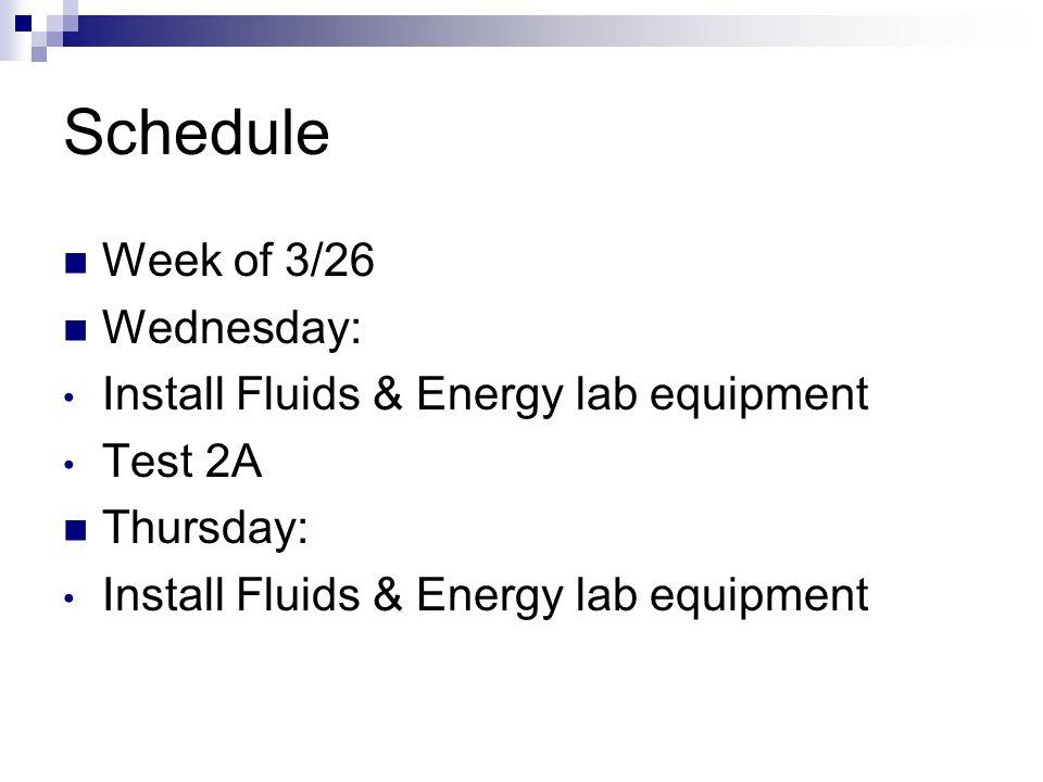 Schedule Week of 3/26 Wednesday: Install Fluids & Energy lab equipment Test 2A Thursday: Install Fluids & Energy lab equipment