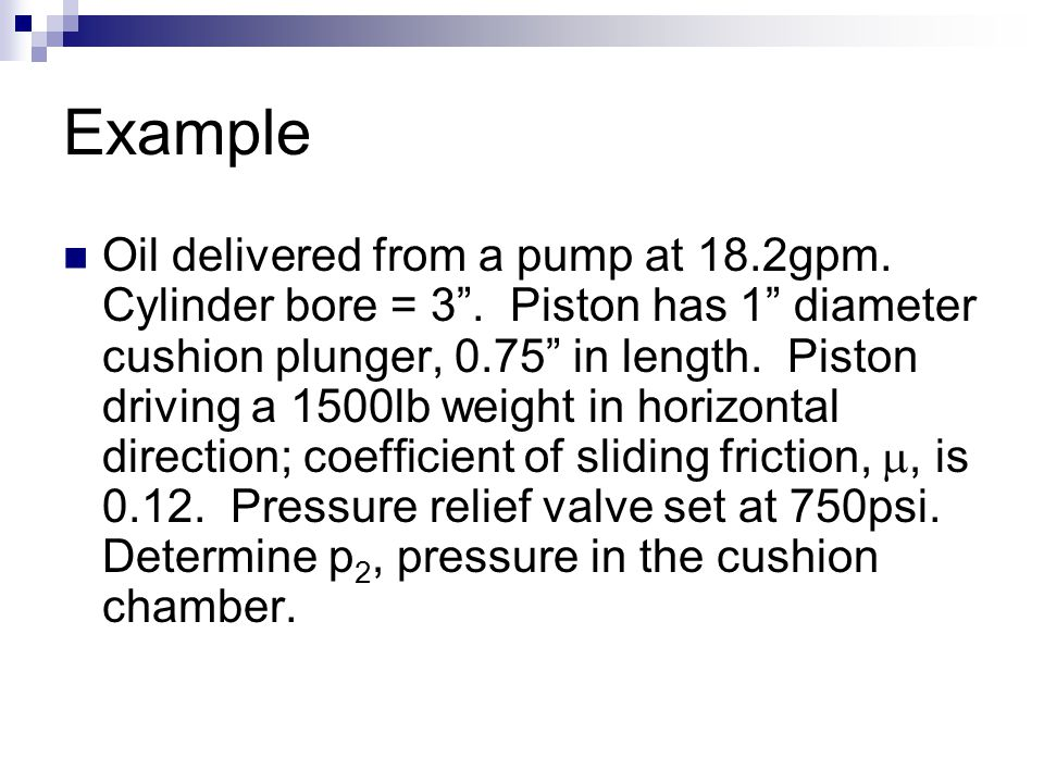"""Example Oil delivered from a pump at 18.2gpm. Cylinder bore = 3"""". Piston has 1"""" diameter cushion plunger, 0.75"""" in length. Piston driving a 1500lb wei"""