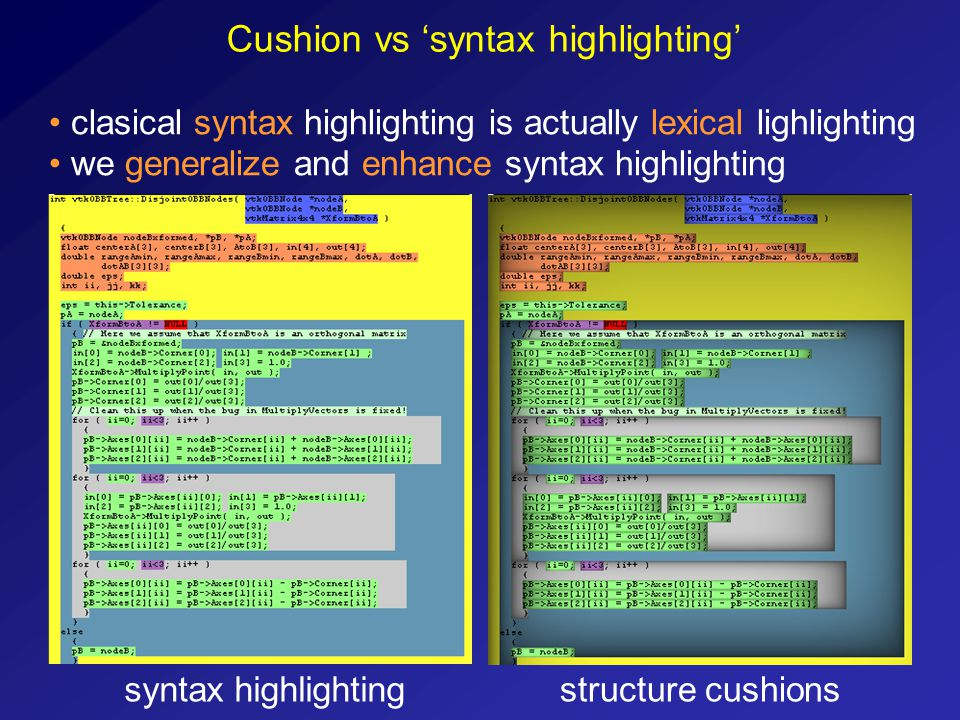 Cushion vs 'syntax highlighting' syntax highlightingstructure cushions clasical syntax highlighting is actually lexical lighlighting we generalize and