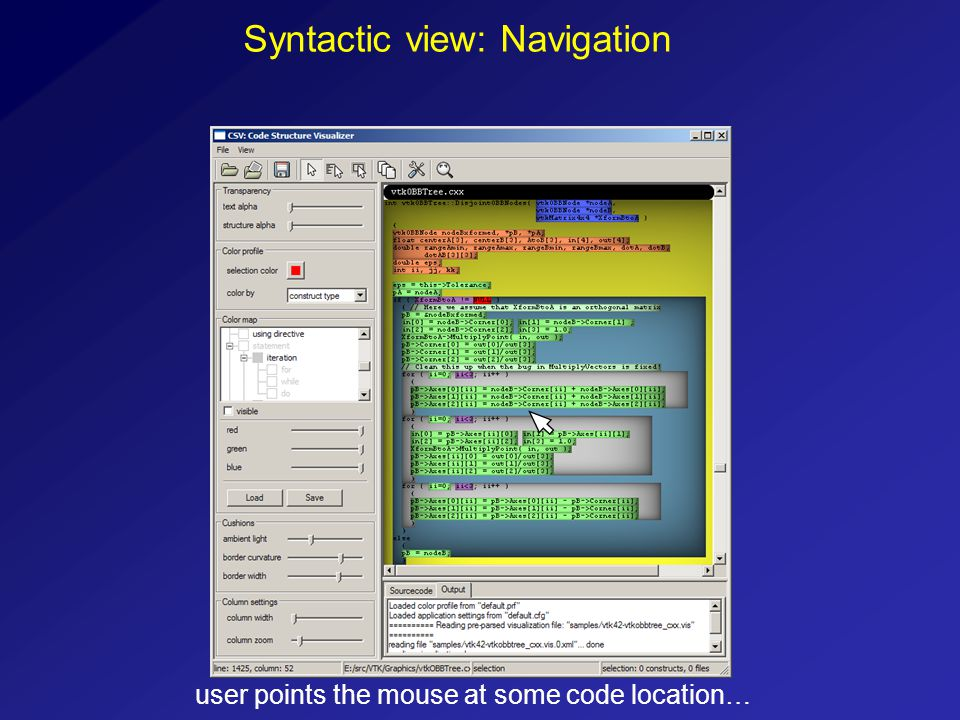 Syntactic view: Navigation user points the mouse at some code location…
