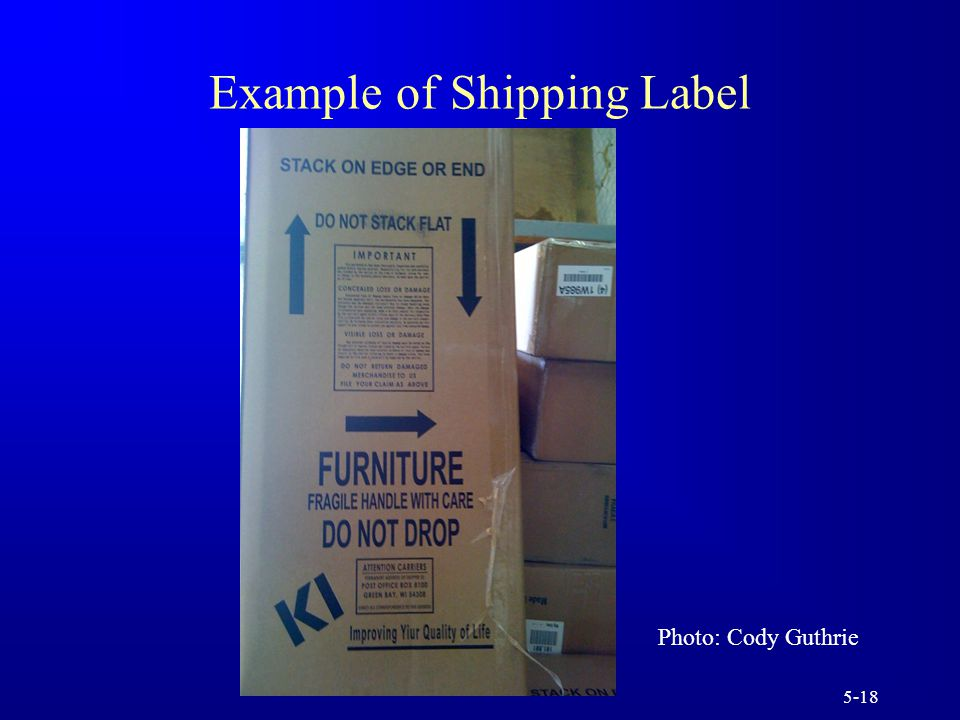 5-18 Example of Shipping Label Photo: Cody Guthrie