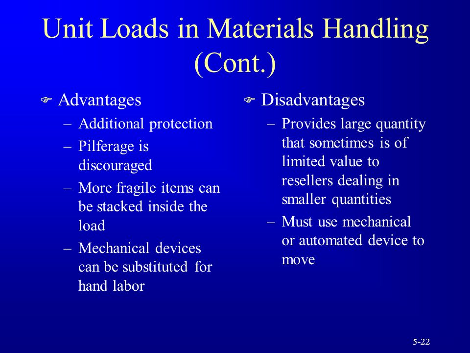 5-22 Unit Loads in Materials Handling (Cont.) F Advantages –Additional protection –Pilferage is discouraged –More fragile items can be stacked inside the load –Mechanical devices can be substituted for hand labor F Disadvantages –Provides large quantity that sometimes is of limited value to resellers dealing in smaller quantities –Must use mechanical or automated device to move