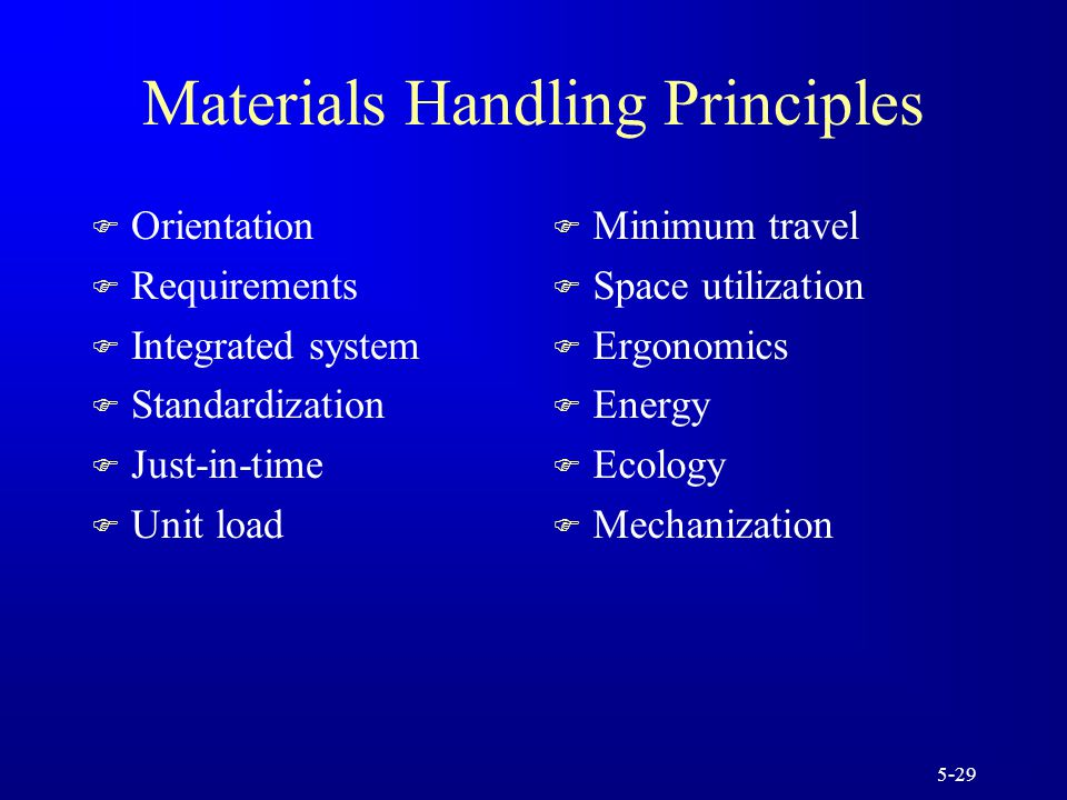 5-29 Materials Handling Principles F Orientation F Requirements F Integrated system F Standardization F Just-in-time F Unit load F Minimum travel F Space utilization F Ergonomics F Energy F Ecology F Mechanization