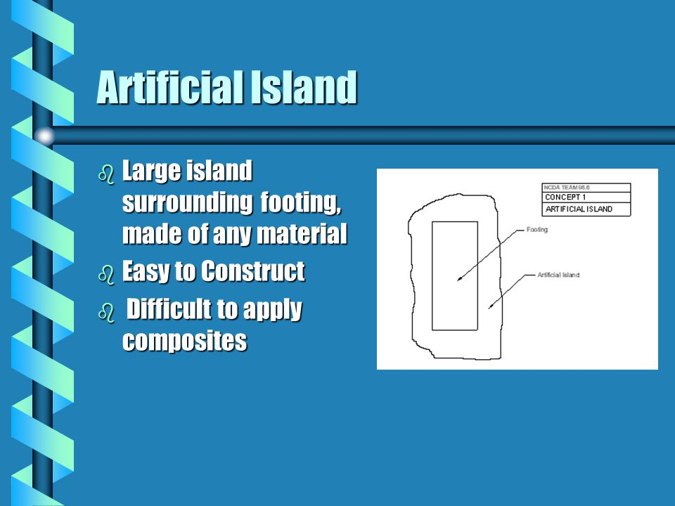 Artificial Island b Large island surrounding footing, made of any material b Easy to Construct b Difficult to apply composites
