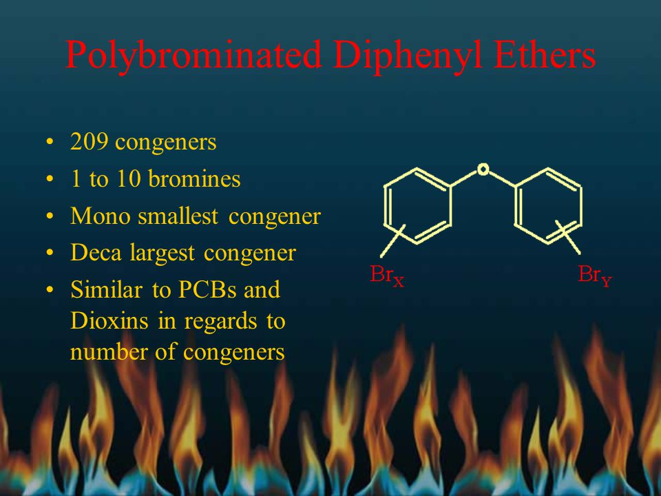 Polybrominated Diphenyl Ethers 209 congeners 1 to 10 bromines Mono smallest congener Deca largest congener Similar to PCBs and Dioxins in regards to n