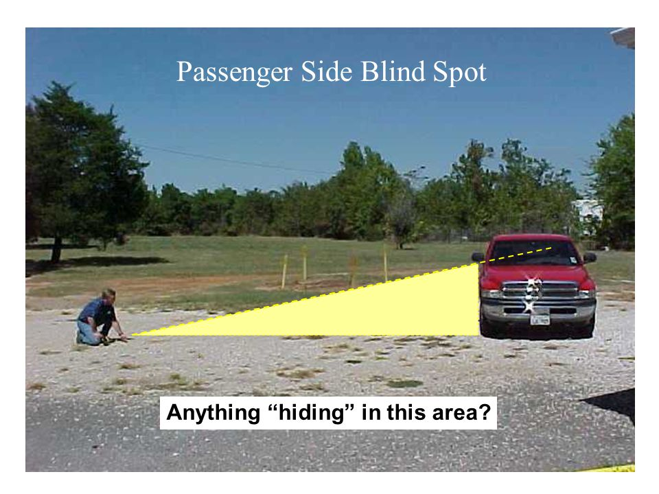 5' 13' 19' 21' 19' 26' 45' 19' 78' 53' Looking over toolbox 38' Looking over headrest thru side window Footprint of Blind Spots Around a Typical Work Truck Note: Measurements taken on flat ground with Dodge D1500 Supercab, with & without toolbox and 5' 7 driver.