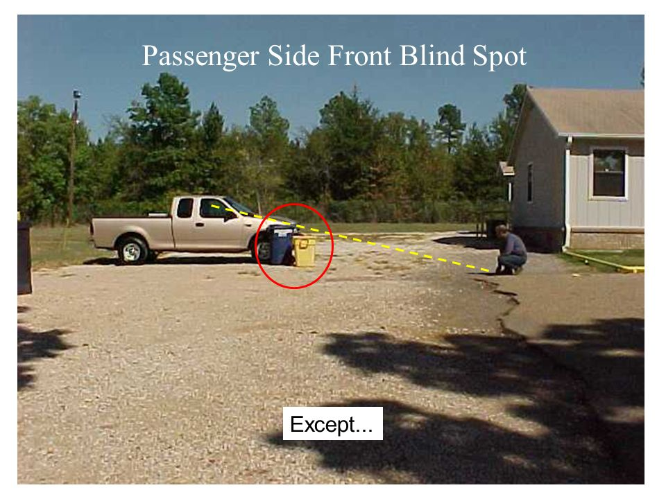 Everything looks good out the front…. Passenger Side Front Blind Spot