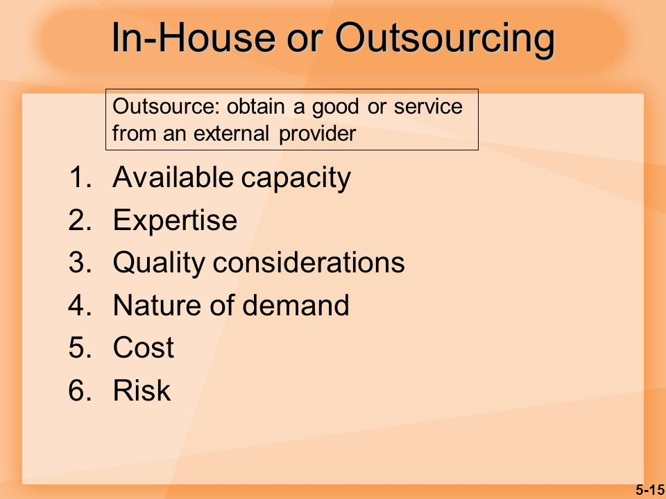 5-15 In-House or Outsourcing 1.Available capacity 2.Expertise 3.Quality considerations 4.Nature of demand 5.Cost 6.Risk Outsource: obtain a good or service from an external provider