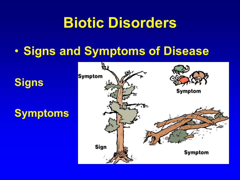 Biotic Disorders Signs and Symptoms of Disease Signs Symptoms