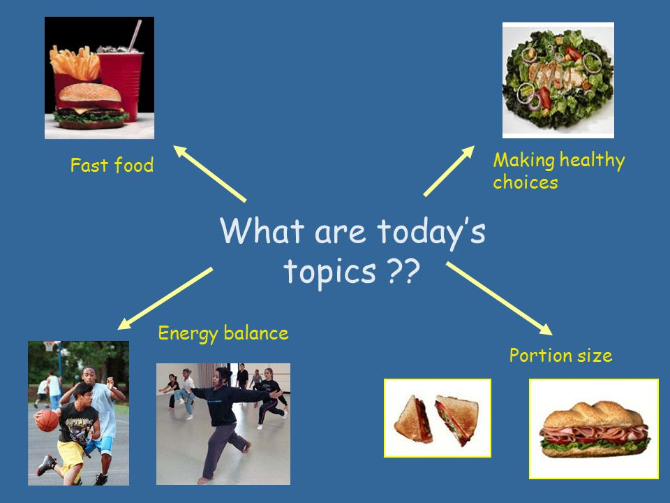 What are today's topics ?? Fast food Making healthy choices Energy balance Portion size