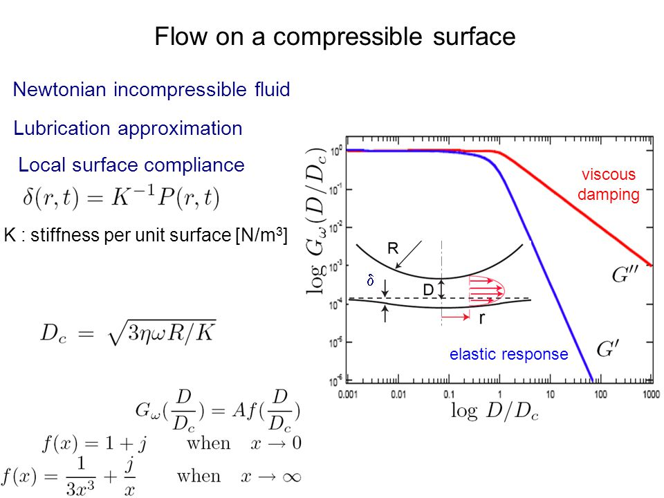 Local surface compliance Flow on a compressible surface Newtonian incompressible fluid Lubrication approximation K : stiffness per unit surface [N/m 3 ] elastic response viscous damping 