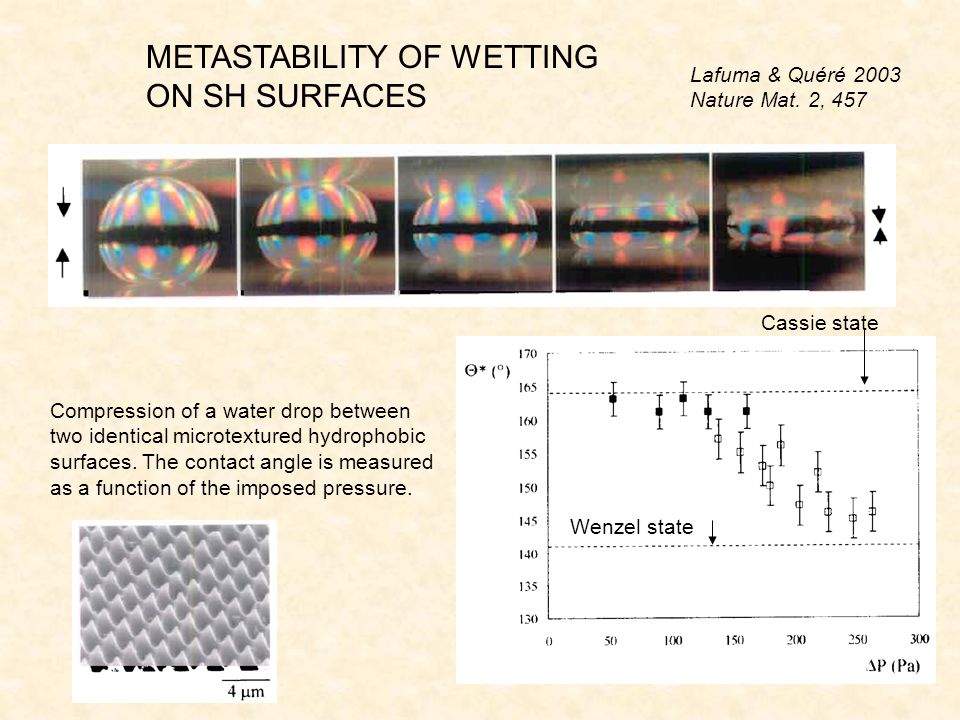 METASTABILITY OF WETTING ON SH SURFACES Compression of a water drop between two identical microtextured hydrophobic surfaces.