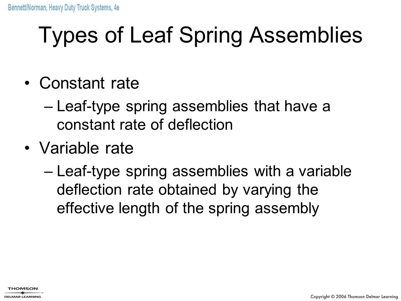 Types of Leaf Spring Assemblies Constant rate –Leaf-type spring assemblies that have a constant rate of deflection Variable rate –Leaf-type spring ass