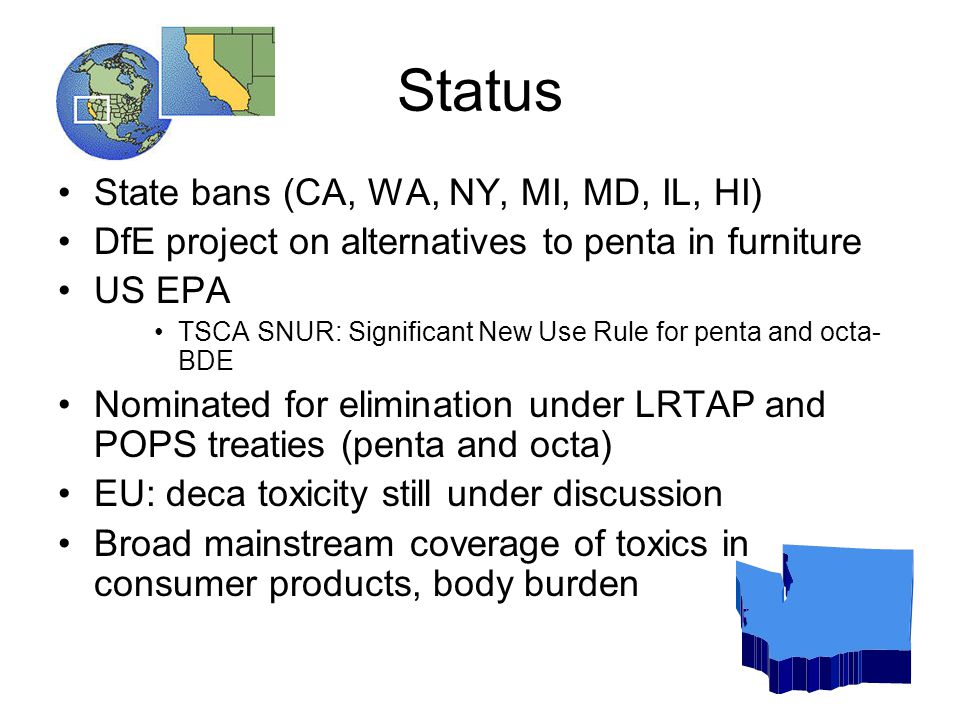 Status State bans (CA, WA, NY, MI, MD, IL, HI) DfE project on alternatives to penta in furniture US EPA TSCA SNUR: Significant New Use Rule for penta and octa- BDE Nominated for elimination under LRTAP and POPS treaties (penta and octa) EU: deca toxicity still under discussion Broad mainstream coverage of toxics in consumer products, body burden