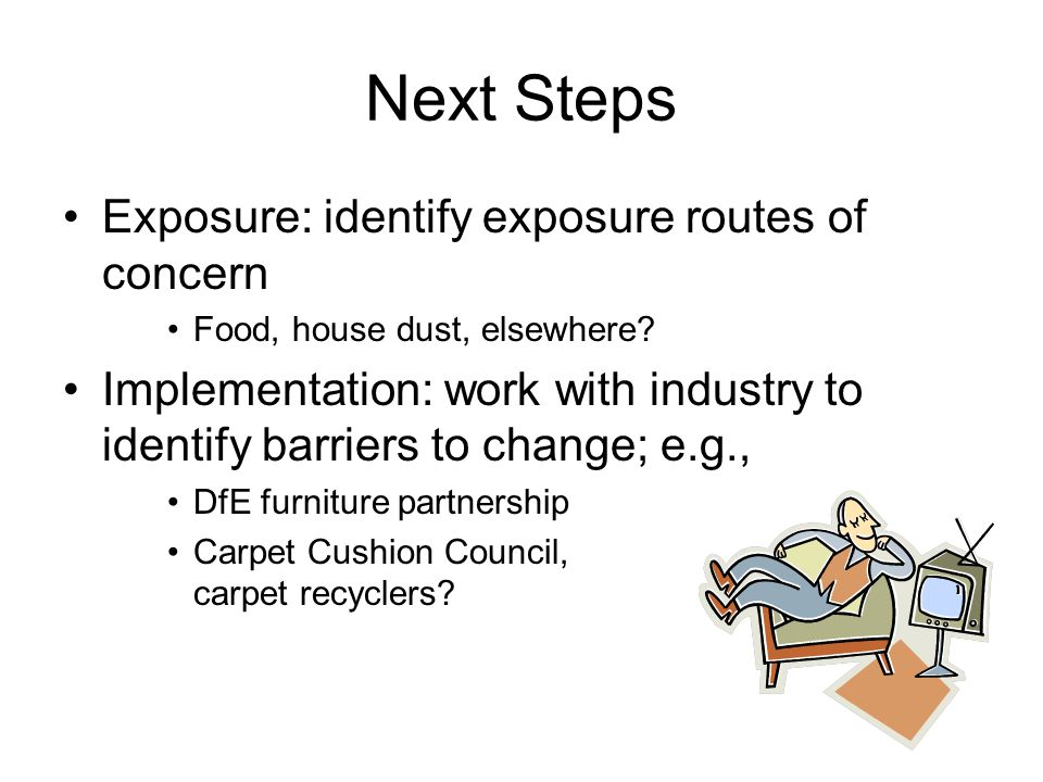 Next Steps Exposure: identify exposure routes of concern Food, house dust, elsewhere.