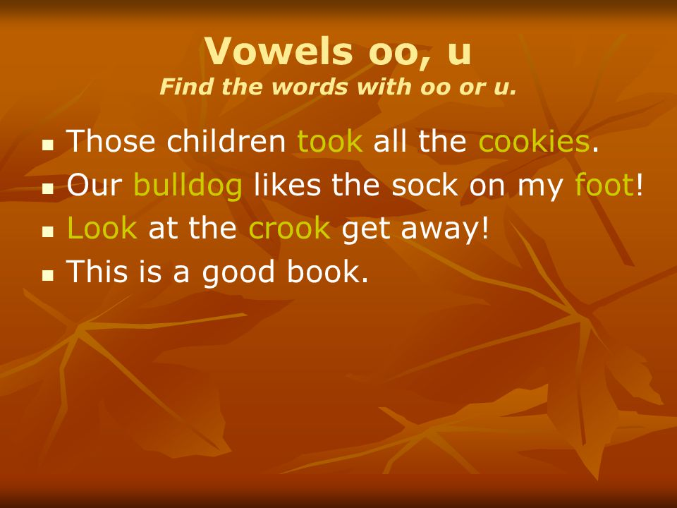 Vowels oo, u Find the words with oo or u. Those children took all the cookies. Our bulldog likes the sock on my foot! Look at the crook get away! This