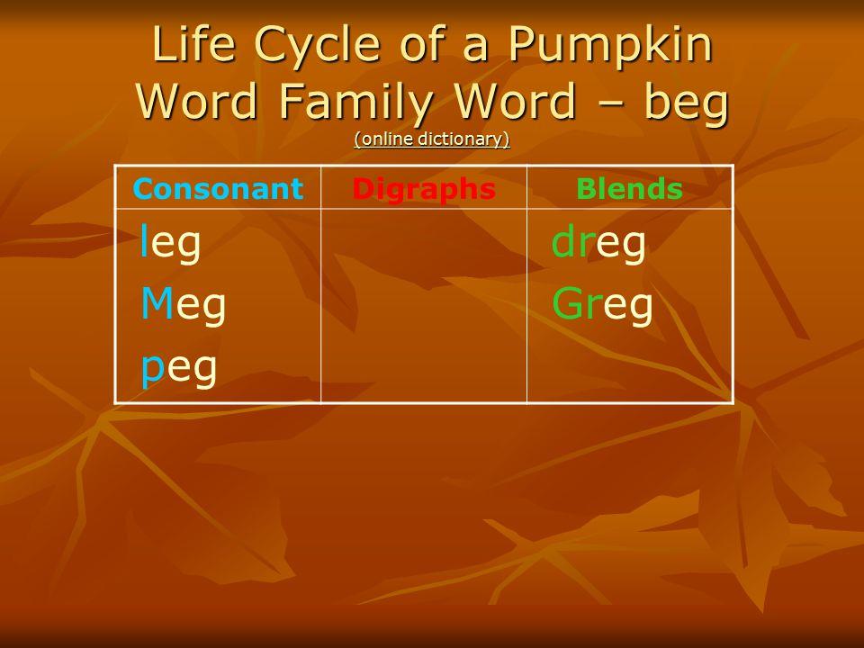 Life Cycle of a Pumpkin Word Family Word – beg (online dictionary) (online dictionary) (online dictionary) ConsonantDigraphsBlends leg Meg peg dreg Gr