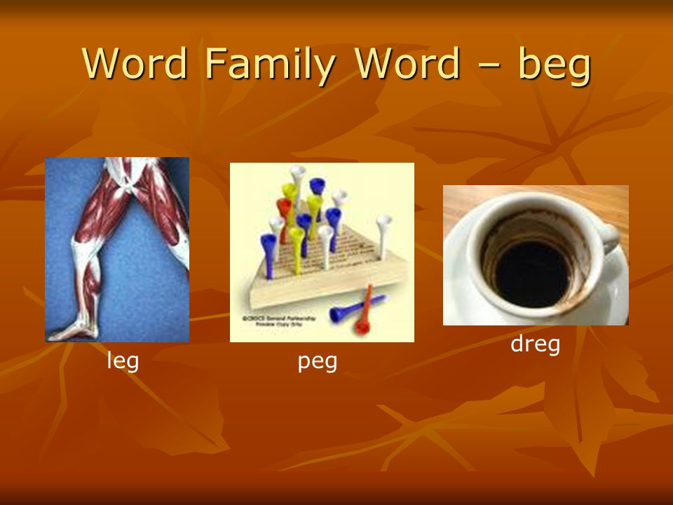 Word Family Word – beg leg peg dreg