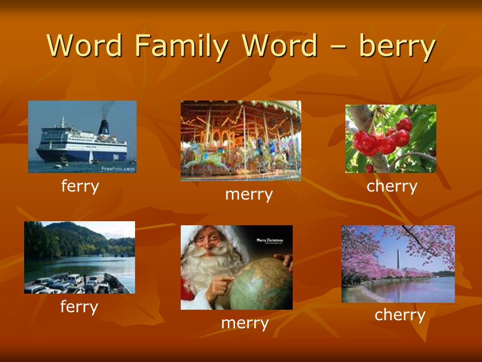 Word Family Word – berry ferry merry cherry