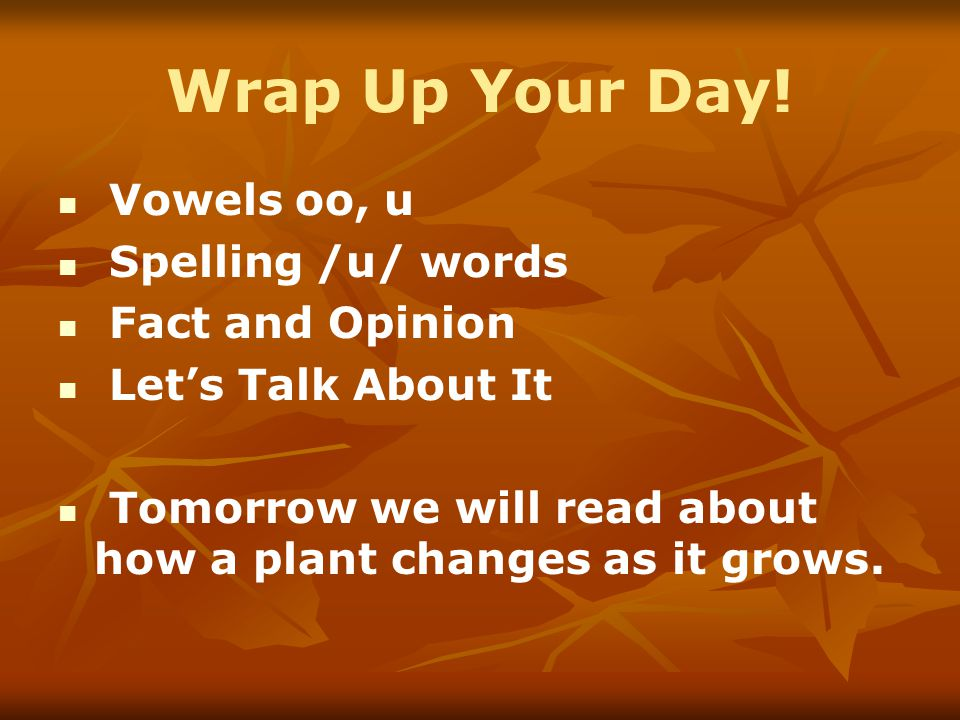 Wrap Up Your Day! Vowels oo, u Spelling /u/ words Fact and Opinion Let's Talk About It Tomorrow we will read about how a plant changes as it grows.