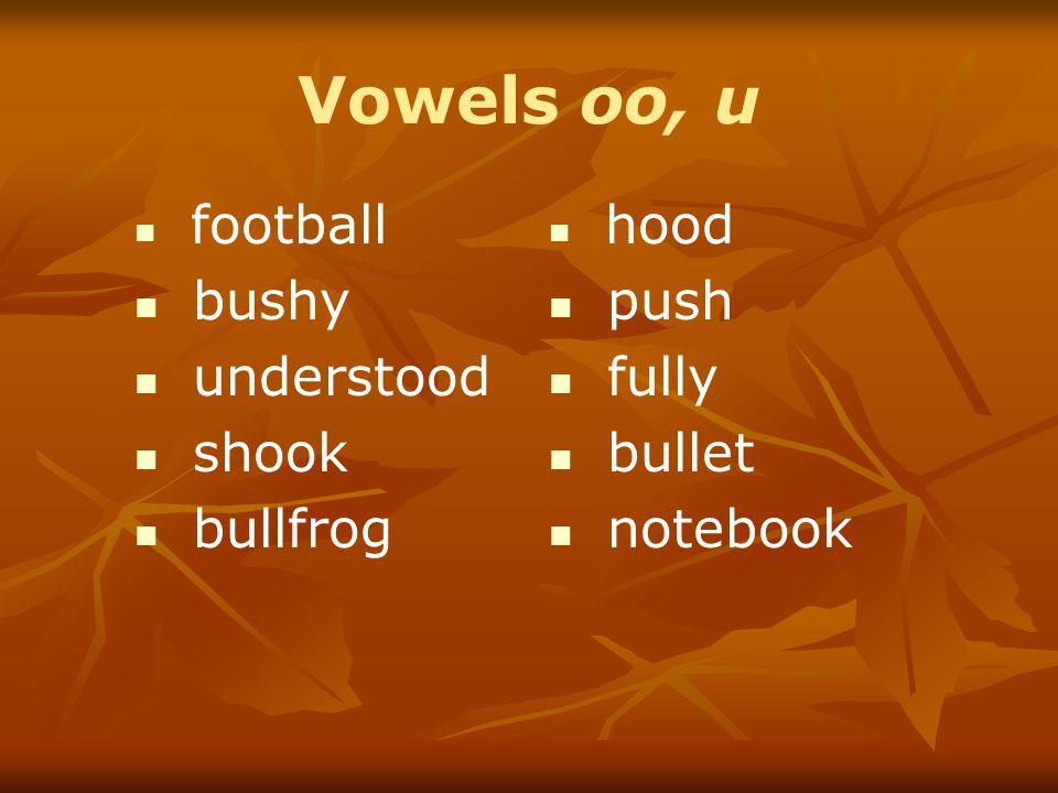 Vowels oo, u football bushy understood shook bullfrog hood push fully bullet notebook