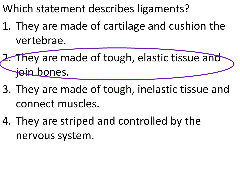 Which statement describes ligaments. 1.They are made of cartilage and cushion the vertebrae.