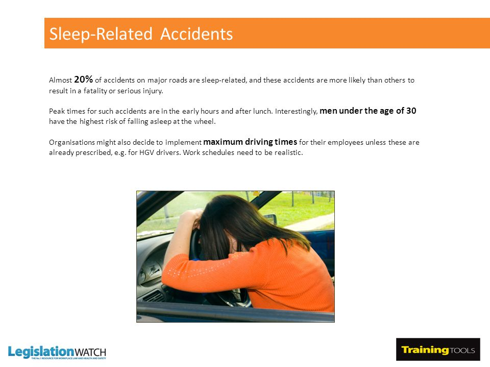 Sleep-Related Accidents Almost 20% of accidents on major roads are sleep-related, and these accidents are more likely than others to result in a fatality or serious injury.