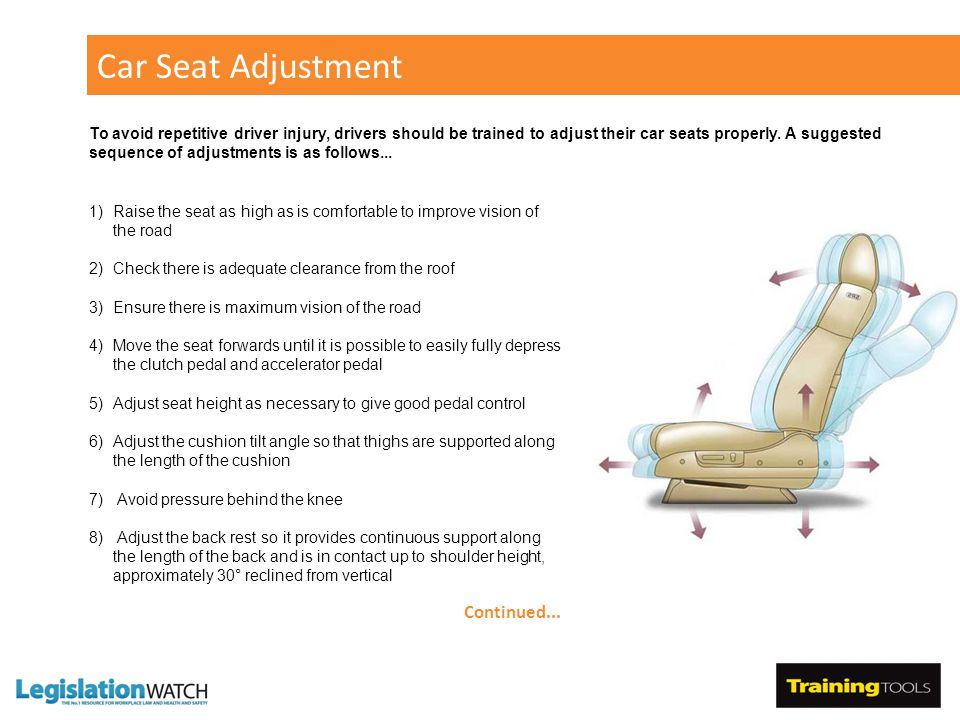Car Seat Adjustment 1)Raise the seat as high as is comfortable to improve vision of the road 2)Check there is adequate clearance from the roof 3)Ensure there is maximum vision of the road 4)Move the seat forwards until it is possible to easily fully depress the clutch pedal and accelerator pedal 5)Adjust seat height as necessary to give good pedal control 6)Adjust the cushion tilt angle so that thighs are supported along the length of the cushion 7) Avoid pressure behind the knee 8) Adjust the back rest so it provides continuous support along the length of the back and is in contact up to shoulder height, approximately 30° reclined from vertical Continued...