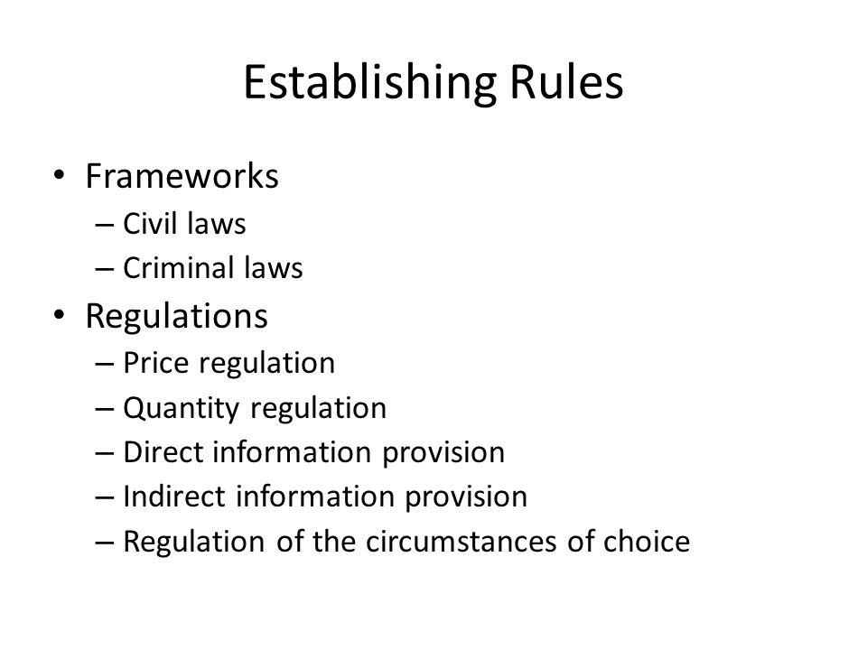 Establishing Rules Frameworks – Civil laws – Criminal laws Regulations – Price regulation – Quantity regulation – Direct information provision – Indirect information provision – Regulation of the circumstances of choice