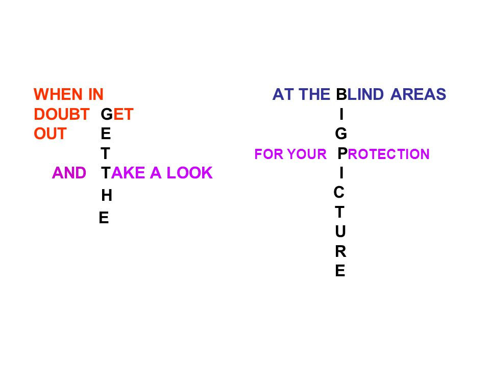 WHEN IN DOUBT GET OUT E T AND TAKE A LOOK H E AT THE BLIND AREAS I G FOR YOUR P ROTECTION I C T U R E