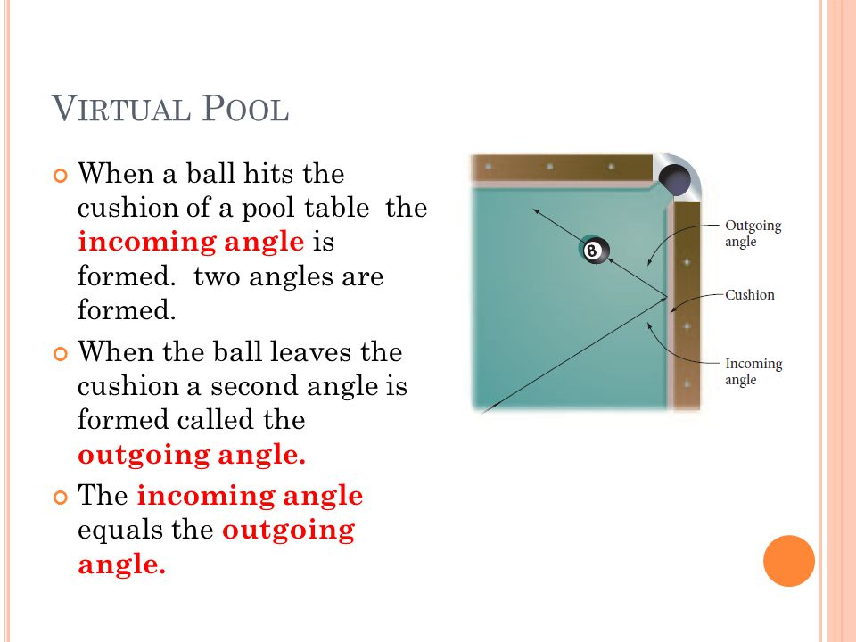 V IRTUAL P OOL When a ball hits the cushion of a pool table the incoming angle is formed. two angles are formed. When the ball leaves the cushion a se