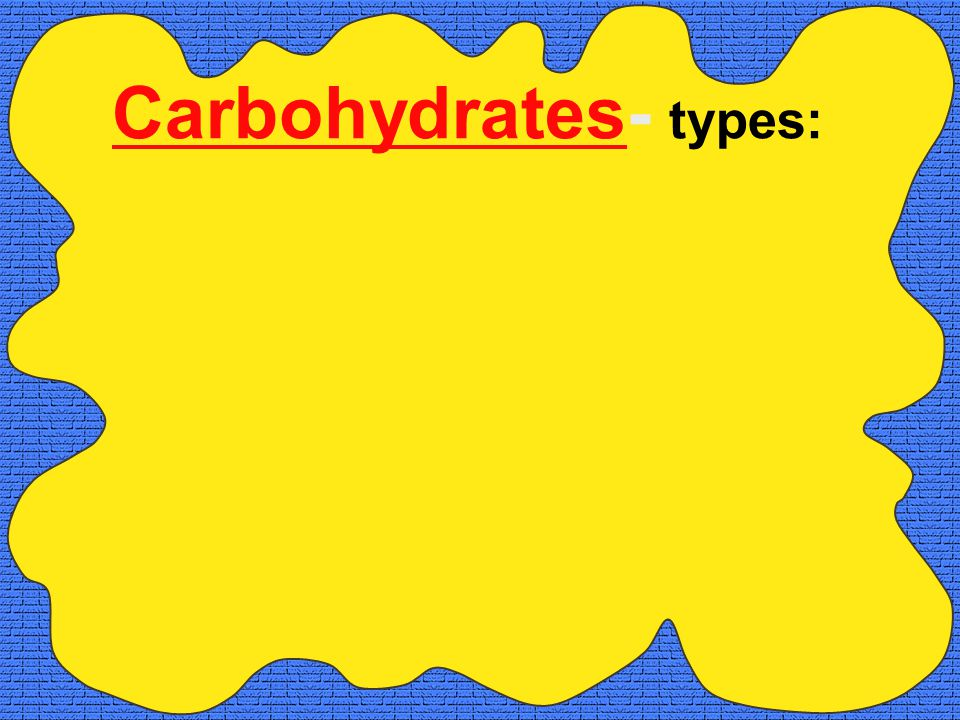 Carbohydrates- types: