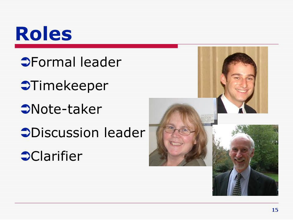 15 Roles  Formal leader  Timekeeper  Note-taker  Discussion leader  Clarifier