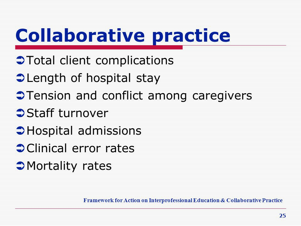 25 Collaborative practice  Total client complications  Length of hospital stay  Tension and conflict among caregivers  Staff turnover  Hospital a
