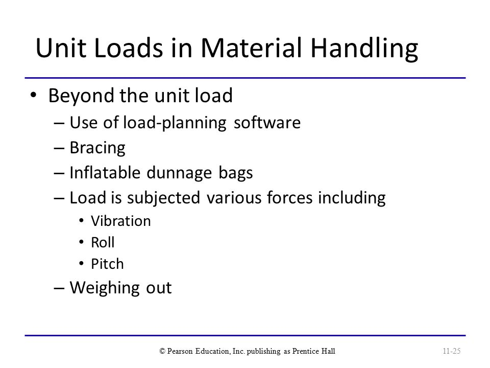 Unit Loads in Material Handling Beyond the unit load – Use of load-planning software – Bracing – Inflatable dunnage bags – Load is subjected various forces including Vibration Roll Pitch – Weighing out © Pearson Education, Inc.