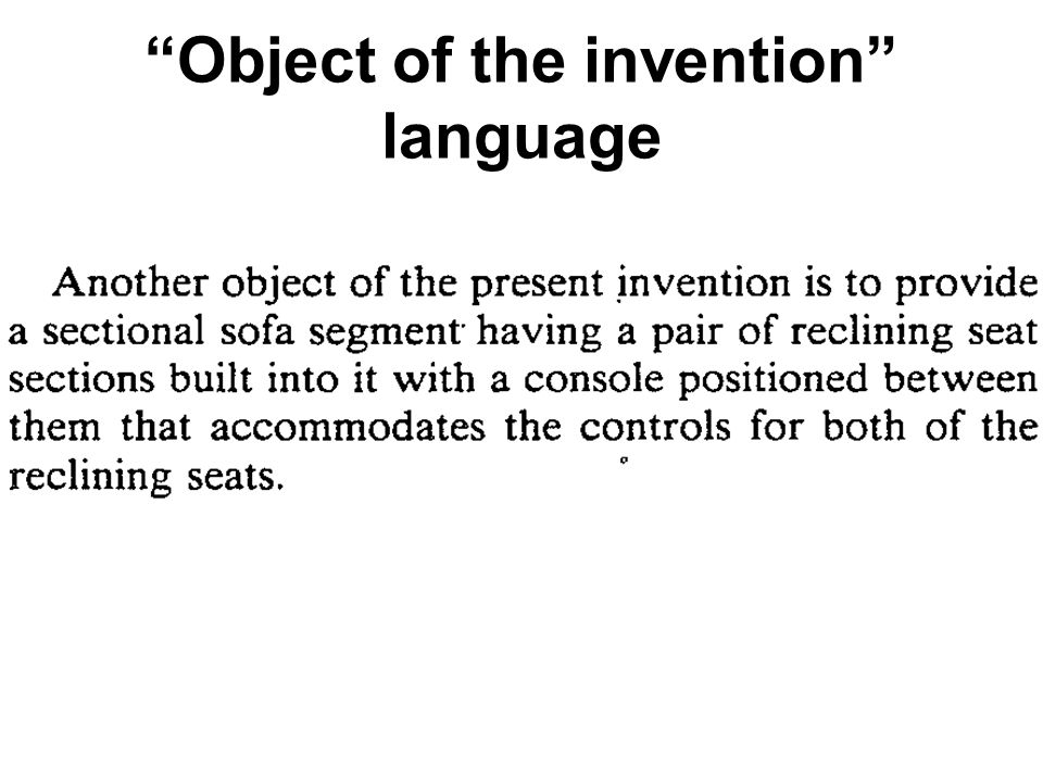 Object of the invention language