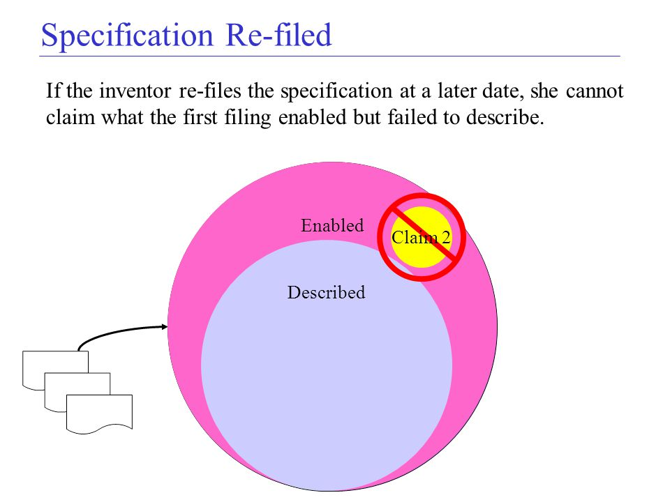 Specification Re-filed Enabled Described Claim 1 Original Application If the inventor re-files the specification at a later date, she cannot claim wha