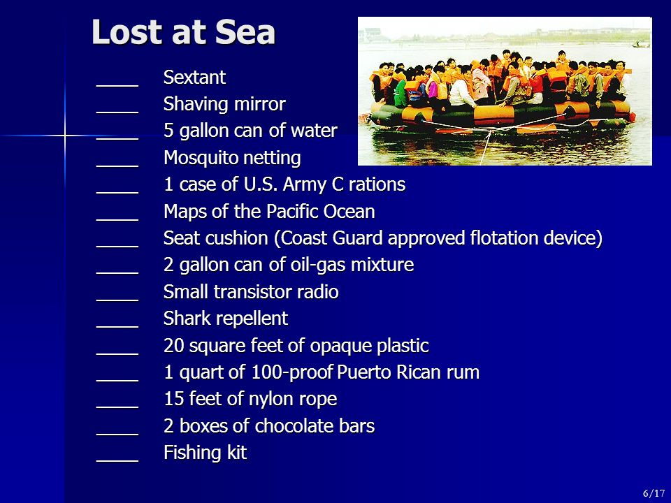 Lost at Sea ____Sextant ____Shaving mirror ____ 5 gallon can of water ____Mosquito netting ____ 1 case of U.S.
