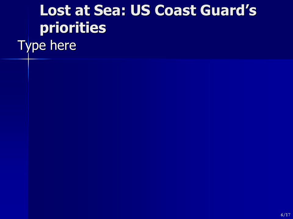 Lost at Sea: US Coast Guard's priorities Type here 6/17