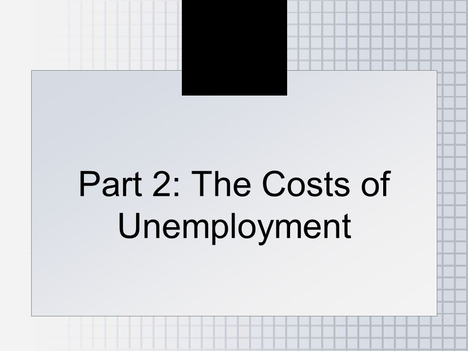 Part 2: The Costs of Unemployment