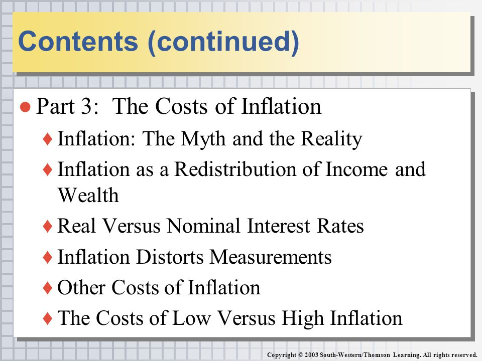 ●Part 3: The Costs of Inflation ♦Inflation: The Myth and the Reality ♦Inflation as a Redistribution of Income and Wealth ♦Real Versus Nominal Interest Rates ♦Inflation Distorts Measurements ♦Other Costs of Inflation ♦The Costs of Low Versus High Inflation ●Part 3: The Costs of Inflation ♦Inflation: The Myth and the Reality ♦Inflation as a Redistribution of Income and Wealth ♦Real Versus Nominal Interest Rates ♦Inflation Distorts Measurements ♦Other Costs of Inflation ♦The Costs of Low Versus High Inflation Contents (continued) Copyright © 2003 South-Western/Thomson Learning.