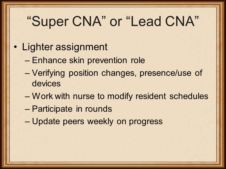 Super CNA or Lead CNA Lighter assignment –Enhance skin prevention role –Verifying position changes, presence/use of devices –Work with nurse to modify resident schedules –Participate in rounds –Update peers weekly on progress
