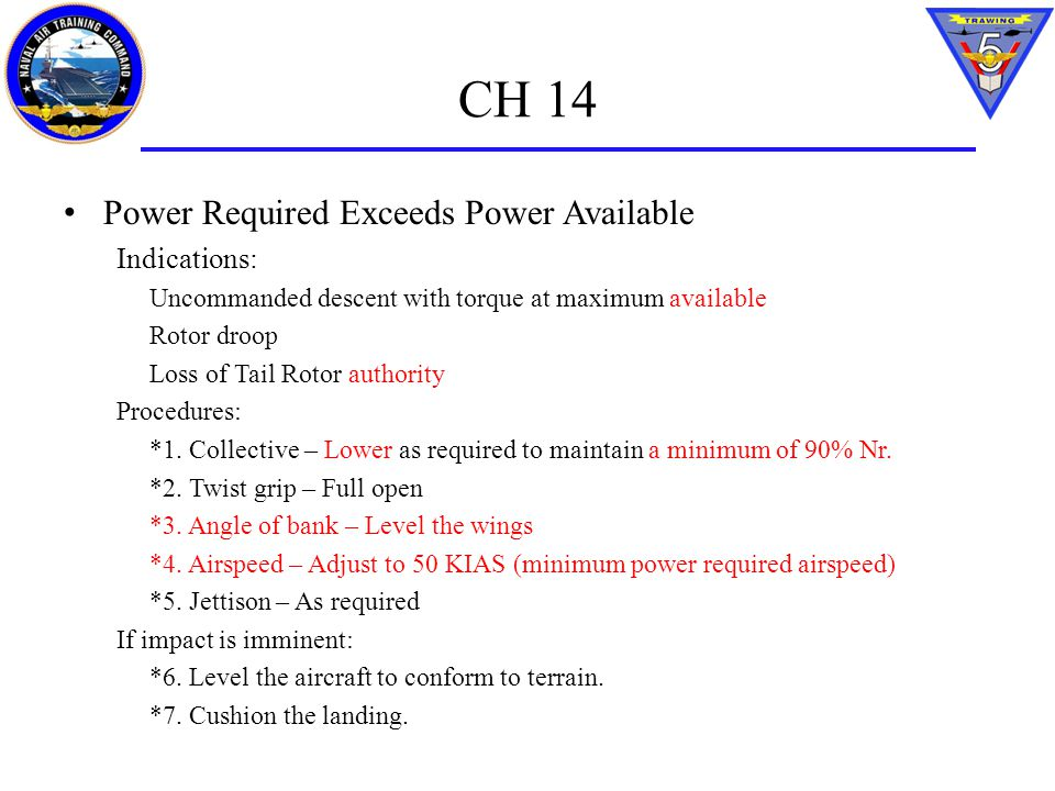 CH 14 Power Required Exceeds Power Available Indications: Uncommanded descent with torque at maximum available Rotor droop Loss of Tail Rotor authorit