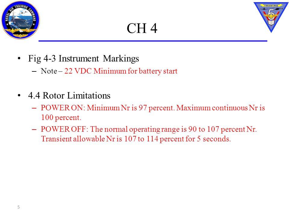CH 4 Fig 4-3 Instrument Markings – Note – 22 VDC Minimum for battery start 4.4 Rotor Limitations – POWER ON: Minimum Nr is 97 percent. Maximum continu