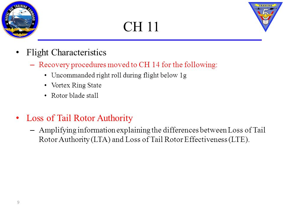 CH 11 Flight Characteristics – Recovery procedures moved to CH 14 for the following: Uncommanded right roll during flight below 1g Vortex Ring State R